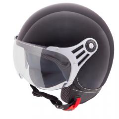 Vinz Stelvio glans zwart jethelm fashionhelm scooterhelm motorhelm vooraanzicht