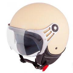 Vinz Stelvio mat crème jethelm fashionhelm scooterhelm motorhelm vooraanzicht