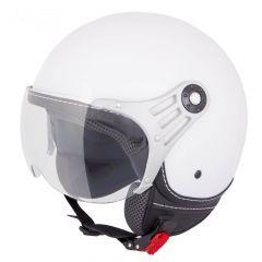 Vinz Stelvio mat wit jethelm fashionhelm scooterhelm motorhelm vooraanzicht